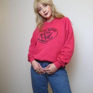 Vintage 90's hot pink cow crewneck sweatshirt
